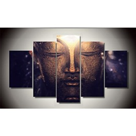 Buddha Face Hanging 5-Piece Canvas Eco-friendly and Waterproof Non-framed Prints