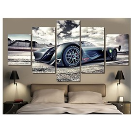 Sports Car and Clouds Hanging 5-Piece Canvas Eco-friendly and Waterproof Non-framed Prints