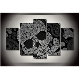 Skull Pattern Hanging 5-Piece Canvas Eco-friendly and Waterproof Black Non-framed Prints