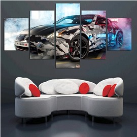 Sports Car Hanging 5-Piece Canvas Eco-friendly and Waterproof Non-framed Prints
