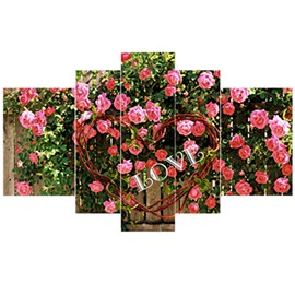 Pink Flowers Pattern Hanging 5-Piece Canvas Eco-friendly and Waterproof Non-framed Prints