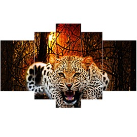 Roaring Leopard Pattern Hanging 5-Piece Canvas Eco-friendly and Waterproof Non-framed Prints