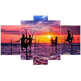 People Dancing on Sea in Dusk Hanging 5-Piece Canvas Eco-friendly and Waterproof Non-framed Prints