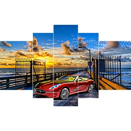 Sports Red Car on Bridge in Sunset Hanging 5-Piece Canvas Eco-friendly Waterproof Non-framed Prints