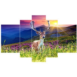 Deer in Flowers Blossom Pattern Hanging 5-Piece Canvas Eco-friendly and Waterproof Colorful Non-framed Prints