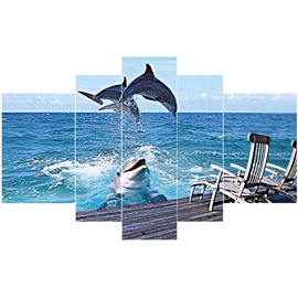 Jumping Dolphins above Sea Pattern Hanging 5-Piece Canvas Blue Eco-friendly and Waterproof Non-framed Prints