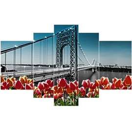 Black Bridge and Red Tulips Pattern Hanging 5-Piece Canvas Eco-friendly and Waterproof Non-framed Prints