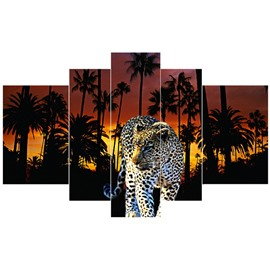 Leopard under Trees Pattern Hanging 5-Piece Canvas Vibrant Eco-friendly and Waterproof Non-framed Prints