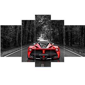 Red Sports Car in the Forest Pattern Hanging 5-Piece Canvas Eco-friendly and Waterproof Non-framed Prints