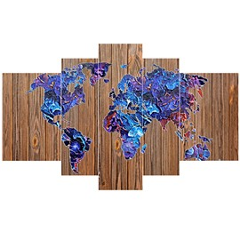 World Map on Wooden Board Pattern Blue Hanging 5-Piece Canvas Eco-friendly Waterproof Non-framed Prints