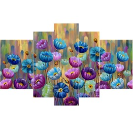 Colorful Flowers Pattern Hand Painted Hanging 5-Piece Canvas Eco-friendly Waterproof Non-framed Prints