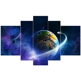 Operating Planet Pattern Hanging 5-Piece Canvas Eco-friendly and Waterproof Non-framed Prints