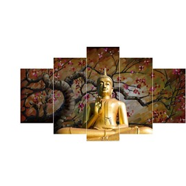 Plum Blossom Tree Surrounding Buddha Hanging 5-Piece Canvas Eco-friendly and Waterproof Non-framed Prints