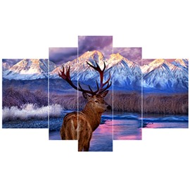 Deer and Snowy Mountain Pattern Hanging 5-Piece Canvas Eco-friendly and Waterproof Non-framed Prints