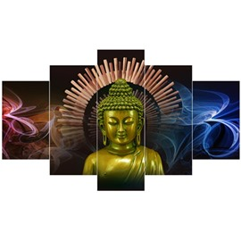 Buddha Head Pattern Hanging 5-Piece Canvas Eco-friendly and Waterproof Non-framed Prints