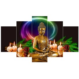 Golden Buddha Pattern Hanging 5-Piece Canvas Eco-friendly and Waterproof Non-framed Prints