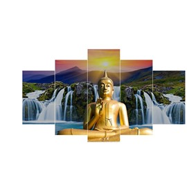 Golden Buddha and Waterfall Pattern Holy Hanging 5-Piece Canvas Eco-friendly and Waterproof Non-framed Prints