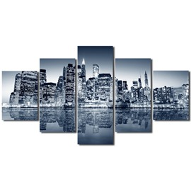 Water City Pattern Hanging 5-Piece Canvas Eco-friendly and Waterproof Non-framed Prints