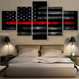 American National Flag Pattern Hanging 5-Piece Canvas Eco-friendly and Waterproof Non-framed Prints