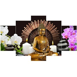 Buddha and Flowers Pattern Hanging 5-Piece Canvas Eco-friendly and Waterproof Non-framed Prints