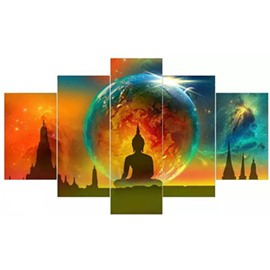 Colorful Planet and Buddha Pattern Hanging 5-Piece Canvas Eco-friendly and Waterproof Non-framed Prints