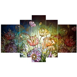 Flower Stretches Pattern Hanging 5-Piece Canvas Eco-friendly and Waterproof Non-framed Prints