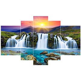 Sun Shining Waterfall Pattern Hanging 5-Piece Canvas Eco-friendly and Waterproof Non-framed Prints