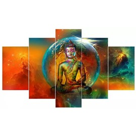 Planet and Buddha Pattern Hanging 5-Piece Canvas Eco-friendly and Waterproof Non-framed Prints