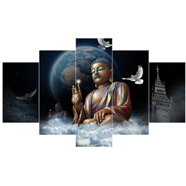 Buddha and Pigeons before Planet Pattern Hanging 5-Piece Canvas Eco-friendly Waterproof Non-framed Prints