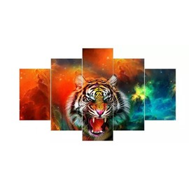 Fierce Tiger Pattern Hanging 5-Piece Canvas Eco-friendly and Waterproof Non-framed Prints