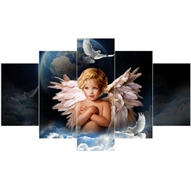 Boy with Wings and Planet Hanging 5-Piece Canvas Eco-friendly and Waterproof Non-framed Prints