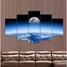 Moon and Blue Planet Pattern Hanging 5-Piece Canvas Eco-friendly and Waterproof Non-framed Prints
