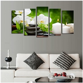 White Flowers Candles Stones Pattern Hanging 5-Piece Canvas Eco-friendly and Waterproof Non-framed Prints