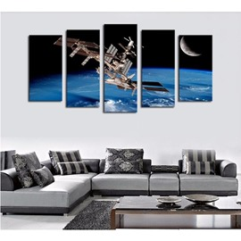 UFO in Universe Pattern Hanging 5-Piece Canvas Eco-friendly and Waterproof Non-framed Prints