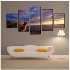 Wolf and Sea in Dusk Pattern Hanging 5-Piece Canvas Eco-friendly Waterproof Non-framed Prints