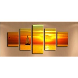 Yacht in Golden and Red Sunset Hanging 5-Piece Canvas Eco-friendly Waterproof Non-framed Prints