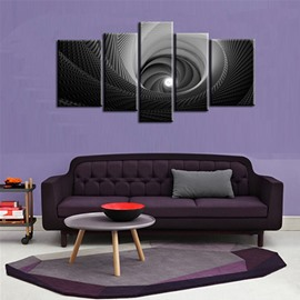 Black Net Swirls Hanging 5-Piece Canvas Eco-friendly and Waterproof Non-framed Prints