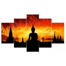 Buddha in Sunset Pattern Hanging 5-Piece Canvas Eco-friendly and Waterproof Non-framed Prints