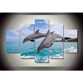 Jumping Dolphins into Sea Hanging 5-Piece Canvas Eco-friendly and Waterproof Non-framed Prints