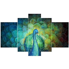 Green Peacock Pattern Hanging 5-Piece Canvas Eco-friendly and Waterproof Non-framed Prints
