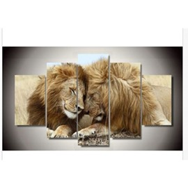 Close Lions Hanging 5-Piece Canvas Eco-friendly and Waterproof Non-framed Prints