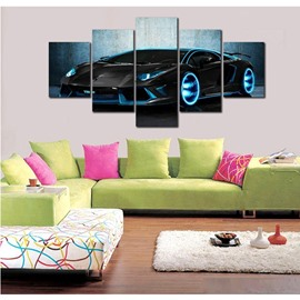 Black Sports Car Pattern Hanging 5-Piece Canvas Eco-friendly and Waterproof Non-framed Prints