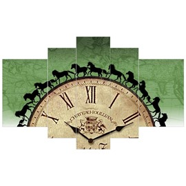 Clock Pattern Hanging 5-Piece Canvas Eco-friendly and Waterproof Green Non-framed Prints