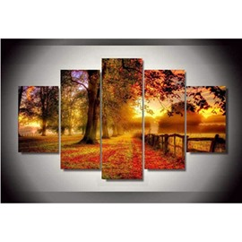 Red Yellow Leaves and Trees Hanging 5-Piece Canvas Eco-friendly and Waterproof Non-framed Prints