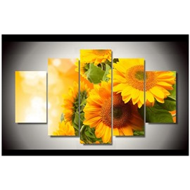 Golden Sunflowers Hanging 5-Piece Canvas Eco-friendly and Waterproof Non-framed Prints