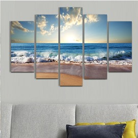 Wave in Blue Sea Hanging 5-Piece Canvas Eco-friendly and Waterproof Non-framed Prints