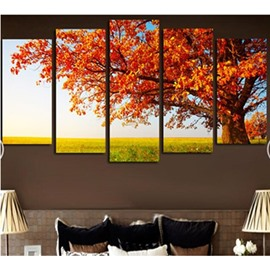 Yellow Leaves in Tree Hanging 5-Piece Canvas Eco-friendly and Waterproof Non-framed Prints