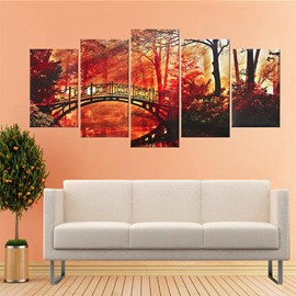 Red Leaves in Tree and Bridge Hanging 5-Piece Canvas Eco-friendly Waterproof Non-framed Prints