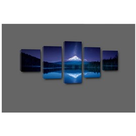 Blue Sky and Lake Hanging 5-Piece Canvas Eco-friendly and Waterproof Non-framed Prints