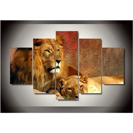 Brown Lions Staring Remote Place Hanging 5-Piece Canvas Eco-friendly and Waterproof Non-framed Prints
